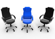 Bürostühle - blauer Führer lizenzfreie abbildung