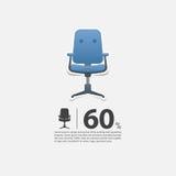 Bürostuhl im flachen Design für Wohnzimmerinnenraum Minimale Ikone für Möbelverkaufsplakat Blauer Stuhl auf weißem Hintergrund Lizenzfreie Stockfotos