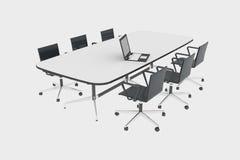 Bürostuhl mit einem Notizbuch und Stühlen Stockfotos
