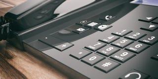 Bürotelefon der Wiedergabe 3d auf hölzernem Hintergrund vektor abbildung