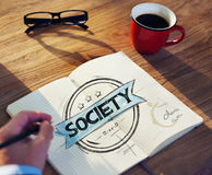 Bürotisch mit Gesellschafts-Konzept Stockbilder