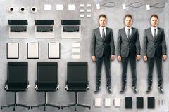 Bürotool-kit mit Zubehör, Möbeln und Männern Stockfoto