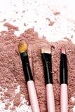 Bürste auf rosa Pulver lizenzfreies stockfoto