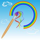 Bürste, die einen Regenbogen im Himmel malt lizenzfreie stockfotografie