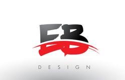 Bürste Logo Letters EB E B mit roter und schwarzer Swoosh-Bürsten-Front Lizenzfreie Stockfotos