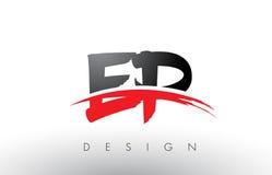 Bürste Logo Letters EP E P mit roter und schwarzer Swoosh-Bürsten-Front Lizenzfreie Stockfotografie