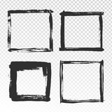 Bürste streicht Rahmen Schwarze Schmutzquadratgrenzen, Pinselfotorahmen und Hand gezeichnete antike Randbeschaffenheit vektor abbildung