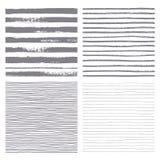 Bürste streift nahtloses Muster des Vektors Satz dünne und starke Linien Stockfotografie