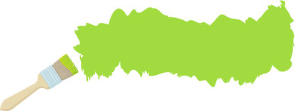 Bürste und Anschlag mit grüner Farbe Lizenzfreie Stockfotos
