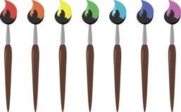 Bürsten in den verschiedenen Farben, Vektor Stockbilder