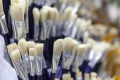Bürsten für das Malen mit Aquarell, Öl, Gouache, acrylsauer Lizenzfreies Stockbild