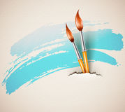 Bürsten für das Zeichnen von heftigem strukturiertem Papierkunstkonzept Stockbild