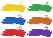 Bürsten Sie Anschläge in sechs Farbe von Acrylfarben Lizenzfreie Stockfotografie