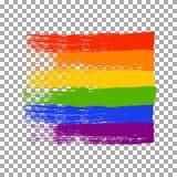Bürsten Sie die Anschläge in den LGBT-Flaggenfarben lokalisiert auf transparentem Hintergrund stock abbildung