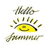 Bürsten Sie die Beschriftungszusammensetzung hallo des Sommers lokalisiert auf weißem Hintergrund Lizenzfreie Stockbilder