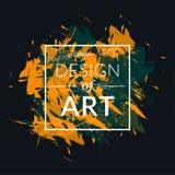 Bürsten Sie Hintergrundvektorillustration mit grüner und orange Farbe Quadratischer Rahmen mit Textdesign der Kunst Lizenzfreie Stockfotos