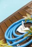 Bürsten-und Blatt-Abstreicheisen neben Swimmingpool Stockfotografie