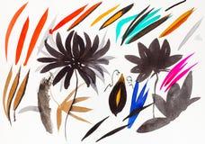 Bürstenanschläge formten Blätter und Chrysantheme stockfoto