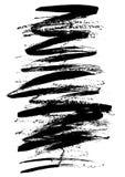 Bürstenanschlag und -beschaffenheit Schmutzvektor-Zusammenfassungselement Vektorillustration, Hintergrund, Schwarzweiss Lizenzfreies Stockbild