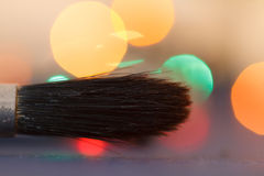 Bürstenkünstlernahaufnahme Nahaufnahmekünstlerwerkzeug Lizenzfreie Stockfotografie
