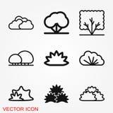 Büsche Ikone, Vektorschattenbild lokalisiert auf backgorund lizenzfreie abbildung
