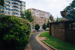 Büsche und Gehweg am Mittagshügel parken, in Washington, DC Lizenzfreies Stockbild