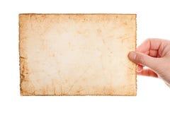 Büttenpapier in der Frauenhand Stockfotos