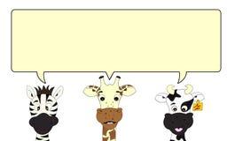 bąbla krowy żyrafy mowy zebra royalty ilustracja