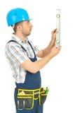 bąbla pozioma mężczyzna pomiarowy pracownik Obraz Stock