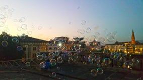 Bąble na powietrzu przed wieczór dziejowy miasto Florence obraz royalty free