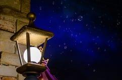 Bąble przy nocą Młyn elfy, Trikala, Grecja fotografia royalty free