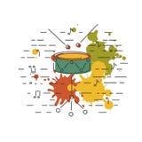 Bęben ikona odizolowywająca na tle z obrazem bryzga Obrazy Stock