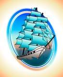 Błękitów żagli statek w okręgu Wektorowy remis zdjęcia stock