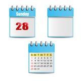 2 błękitów kalendarz z dniami, kolorowymi postaciami i 1 puste miejsce kalendarzem, Fotografia Royalty Free