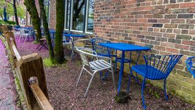 Błękitów krzesła przy restauracją z pięknymi kwiatonośnymi drzewami i stół obrazy stock