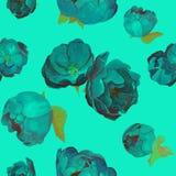 Błękitów kwiatów peones i róż wzór royalty ilustracja
