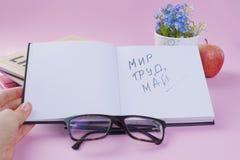 Błękitów kwiaty, książki i jabłko Szkła i otwarty notepad Pracująca atmosfera Wakacje praca w Maju tekst kosmos kopii zdjęcie stock