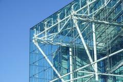 Błękit buduje wszystkie szklany kwadratowy patern na białym nieba tle Zdjęcia Royalty Free