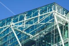 Błękit buduje wszystkie szklany kwadratowy patern na białym nieba tle Obrazy Stock