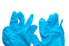 Błękit cienka medyczna rękawiczka odizolowywająca zdjęcia royalty free
