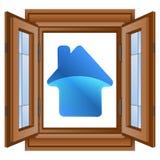Błękit domowa ikona w nadokiennym lesistym ramowym wektorze royalty ilustracja