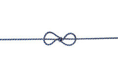 Błękit dratwa lub sznurek wiązaliśmy w łęku odizolowywającym na białym tle Obraz Royalty Free