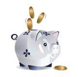 Błękit gotówkowa świnia ilustracja wektor