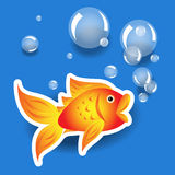 błękit gulgocze kreskówki goldfih etykietkę Zdjęcie Stock