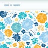 Błękit i żółte sylwetki drzejący kwiatu horyzontalny ilustracji