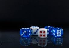 Błękit i biel dices na glansowanym czarnym tle Fotografia Royalty Free