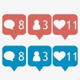 Błękit i czerwony bąbla powiadomienia ikony set Zdjęcie Royalty Free
