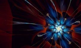 Błękit i Pomarańczowa kwiatu Vortex fractal sztuka Zdjęcia Royalty Free