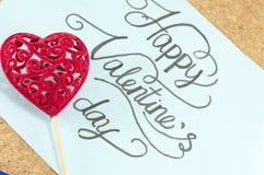 Błękit karta z szczęśliwą valentine dnia inskrypcją Fotografia Royalty Free