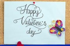 Błękit karta z szczęśliwą valentine dnia inskrypcją Zdjęcie Royalty Free